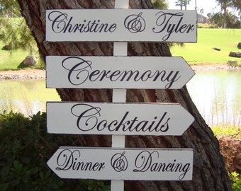 DiReCTioNaL WeDDiNg SiGnS - CuSToM WeDDiNg SiGn - Classic Styled - Custom Wedding Arrow Signs - 4ft Stake - Pick Your Own Phrases