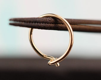 Solid Yellow Gold Nose Hoop 14K Solid - Yellow - CUSTOMIZE
