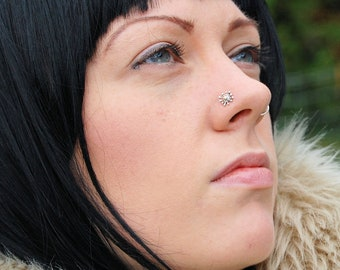 Lotus Flower Nose Ring Amethyst Nose Stud Large Nose Stud Etsy