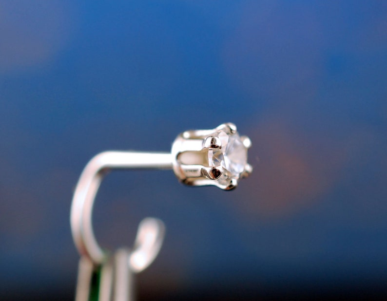 Diamond Style Nose Stud * HIGH Profile Sterling Silver 3mm Gemstone Screw * 24G Nose Stud 18G Nose Stud 22G Nose Stud 20G Nose Stud