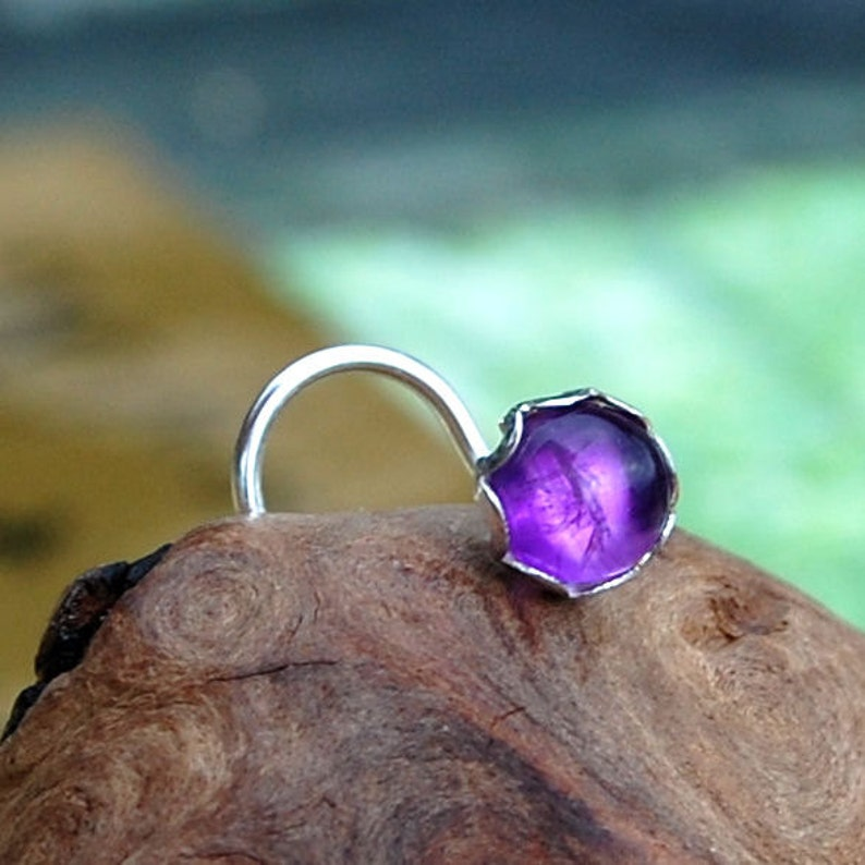Amethyst Nose Stud Set in a Filigree of Sterling Silver CUSTOMIZE