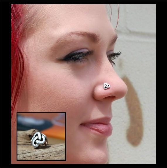 Celtic Knot Sterling Silver Unique Nose Bone Stud Jewelry Etsy