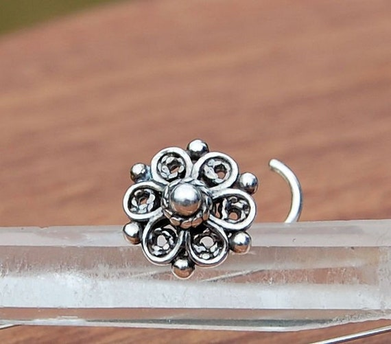 Flower Silver Nose Stud Silver Crystal Nose Bone Cubic Zirconia 925 Sterling Silver Nose Piercing Indian