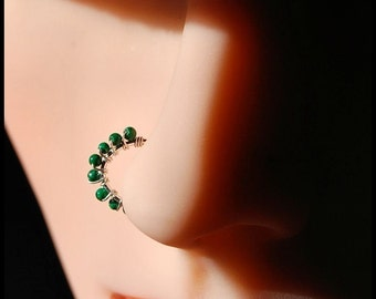 Malachite and Sterling LUCK of the Irish Catchless / Seamless Nose Ring - CUSTOMIZE
