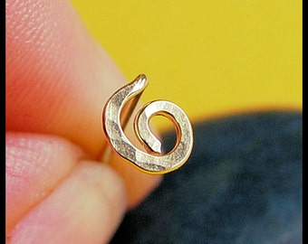 14K Solid  Hammered Organic Open Spiral Nose Stud  - Yellow Gold - CUSTOMIZE