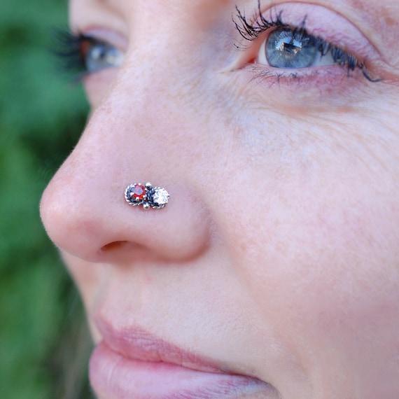 Garnet Nose Stud Indian Nose Ring Holiday Christmas Nose Etsy