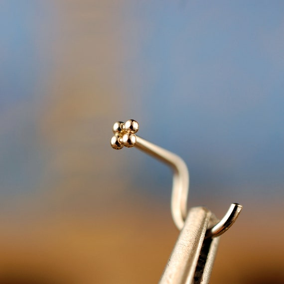 Dainty Gold Nose Stud Tiny Nose Pin Solid Gold Nose Ring Etsy