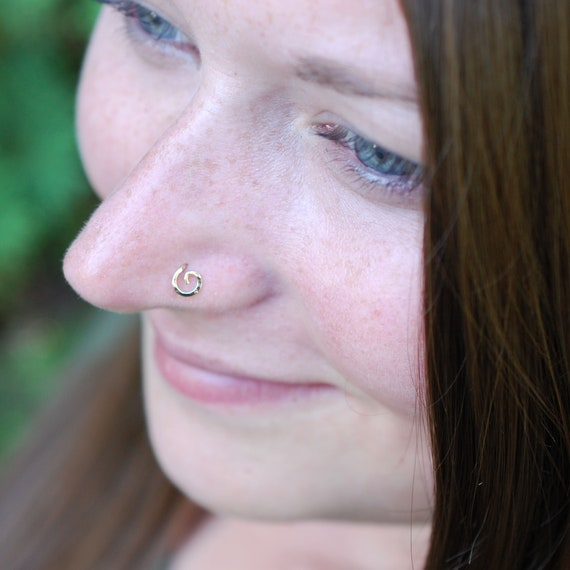 Gold Organic Open Spiral Gold Nose Stud Rock Your Nose Etsy
