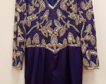 Jones & Jones black tie Beaded Dress in Gold and Purple ~ Sz 10
