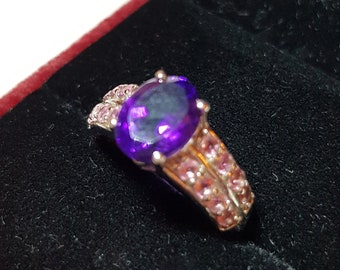 Vintage Ring - Silver Ring, Amethyst and Morganite, Size 10 1/4 (US) U (UK)