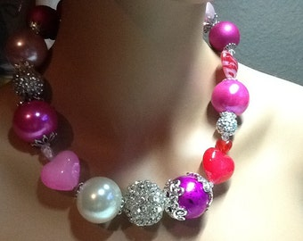 Be My Valentine Gumball Necklace Big Beautiful and Bodacious and Chunky