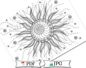 Doodle Swirly Sun Adult Coloring Page Printable