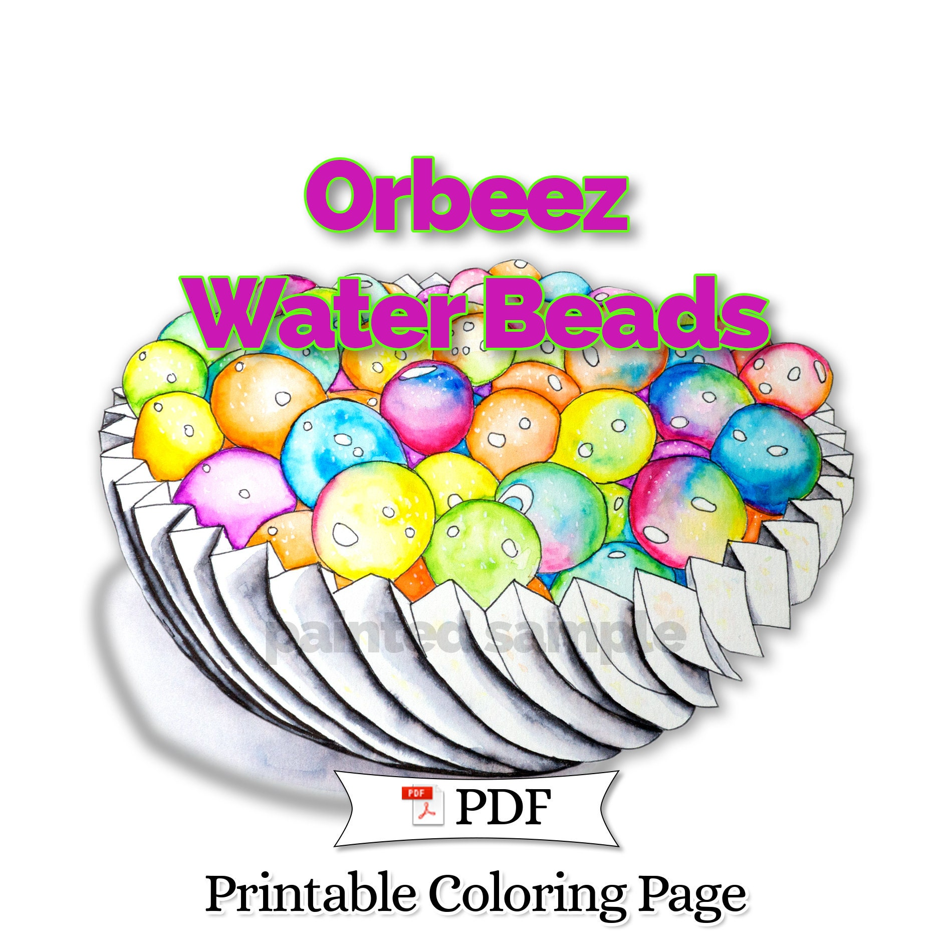 Orbeez Water Beads Coloring Page Printable Coloring Pdf Etsy