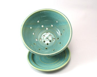 Berry Bowl-Pottery Colander-Ceramic Strainer-Fruit Strainer-Stoneware Bowl-Pearl Green Glaze-Berry Strainer-Teal