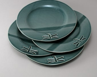 Pottery Plate, Dessert Plates, Ceramic Salad Plate, Dragonfly potteryTeal Pottery