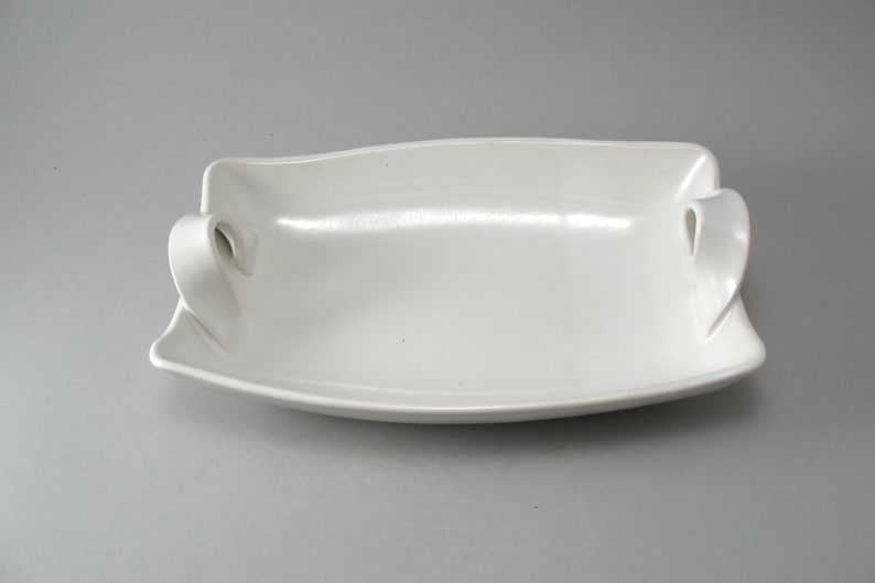 Pottery Serving Dish  White Serving Bowl  Tableware  image 0