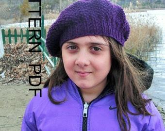 DIY Knittting Pattern- Digital Hat Knitting Pattern PDF -Seed Stitche Beret  Pattern DIY - Children hat Fall Autumn Winter Fashion 7bdadffc186