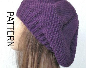 Knit Beret Pattern women Instant Download hat pattern fc66f2f751e