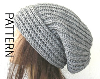 Women Slouchy Instant Download Knit hat pattern  Digital DIY  Hat Knitting PATTERN PDF  Brioche Stitche  hat   Slouchy  Hat Knit Pattern