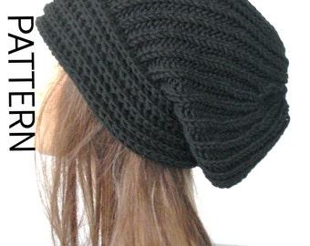 KNITTING PATTERN  Slouchy Hat Knit  Pattern for women Knit Beanie Pattern Fashion  hat Knitting PATTERN   Brioche Stitche  hat  Pattern