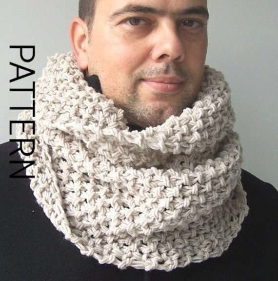 Mens Chunky Cowl Scarf Knitting Pattern Digital Knitting Etsy