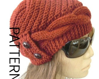 DIY Gift  Winter Knitting Pattern hat  Instant Download  hat pattern Digital  Hat Knitting PATTERN   Cable Knit hat  Cloche Hat Pattern