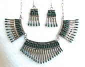 Rare Vintage Signed Native American Zuni Needlepoint Sterling And Malachite Necklace And Earring Suite
