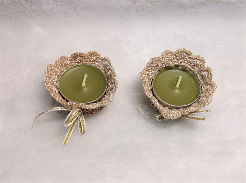Crocheted in Metallic Beige Set of 2 Beige Flower Candle Holders fits Tealight Size