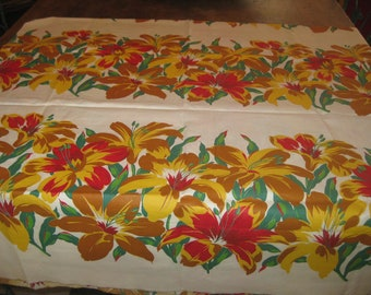 Fabric, vintage tropical 1940's Smooth cotton great for crafts,clothing and more