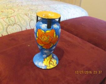 Blue vase with orange flowers Sakiraware, 1930's hand painted good condition