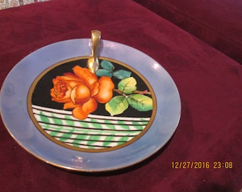 Plate with rose, colorful, Noritake 1930's good condition