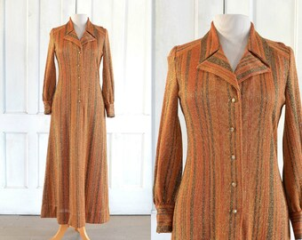 70s Kimberly Knitwear Maxi Dress - Sparkling Gold Metallic - 60s MOD Party  Dress - Kimberly Knit e5dfdc79f2b