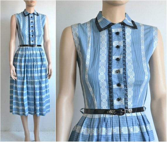 50s Dress - Sleeveless Cotton Shirt Dress - Full S