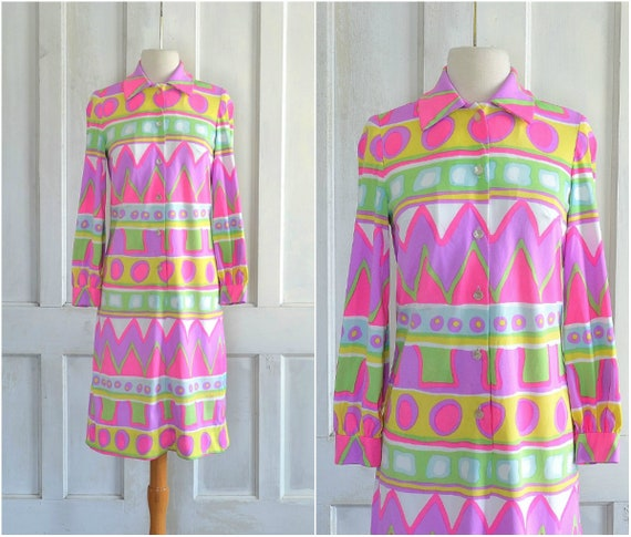 60s Mod Psychedelic Dress Abstract Knit Hippie