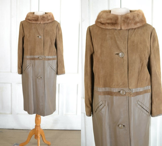 60s Vintage Leather Coat with Mink Collar - Mod Co