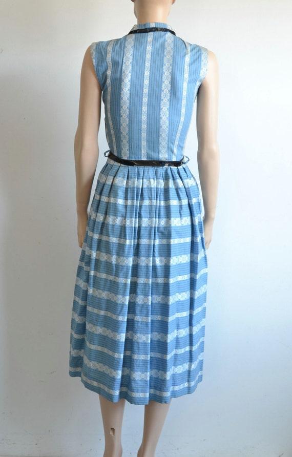 50s Dress - Sleeveless Cotton Shirt Dress - Full … - image 4
