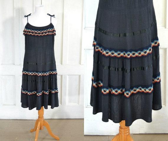 70s Vintage Black Gauze Dress - Crinkled Cotton Ga