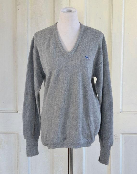 80s Izod Lacoste Sweater , Gray Pullover Sweater , Alligator , Preppy