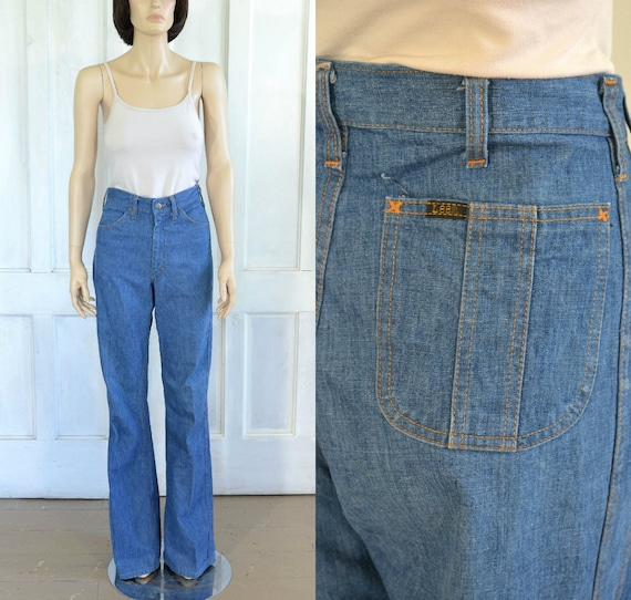 70s Vintage Lee Bell Bottom Jeans - High Waisted S