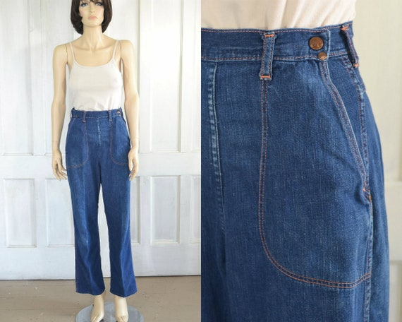 40s Vintage Blue Bell Side Zip Jeans - High Rise C