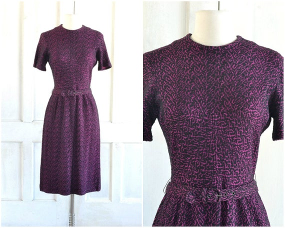50s Knit Dress - Textured Knit Dress - Belted Day