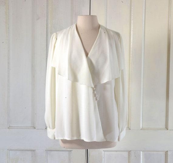80s Blouse - Side Button Wrap Blouse - Cape Collar
