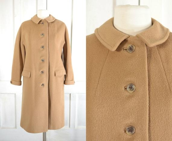 60s Wool Coat - Minimal Mod Camel Color Coat - Pre