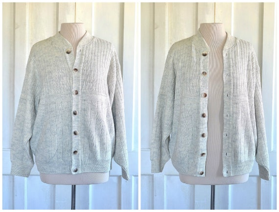 VINTAGE KNIT Slouchy CARDIGAN  Slouchy Oversized Boyfriend Cardigan  Vintage Cardigan  Oat Cardigan