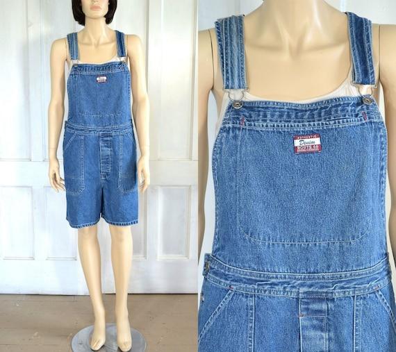 90s Vintage Denim Overalls Shorts - Short Overalls