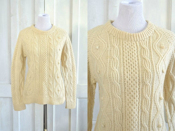 Vintage Fishermans Sweater - Wool Cable Knit Pullo