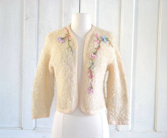 50s Mohair Wool Boucle Sweater Jacket - Embroidere