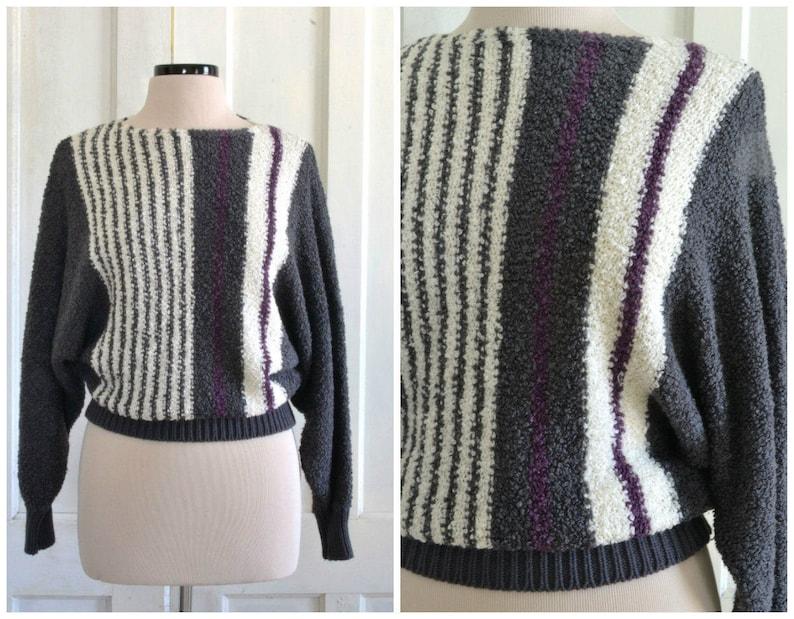 80s Sweater Dolman Sleeve Boucle Knit Slouchy Sweater Boat Neckline Cropped