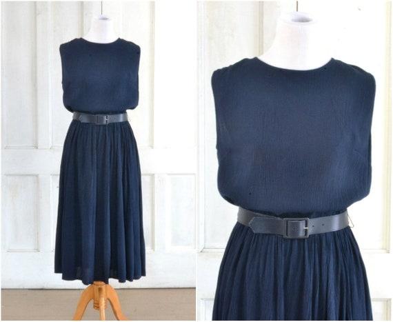80s Dress - Midi Dress - Navy Blue Crinkle Rayon -