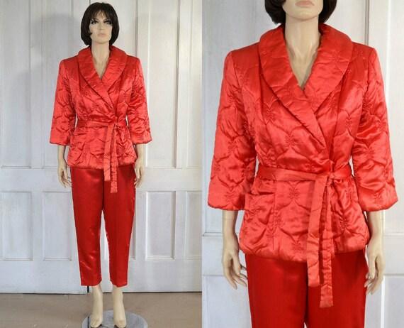 50s Loungewear Set - Red Satin Pajamas - Quilted B